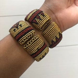 Jewelry - African Hand-beaded Gold and Brown Wrist Bracelets